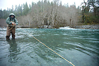 Winter wild steelhead fly fishing on the Chetco River in Southern Oregon.