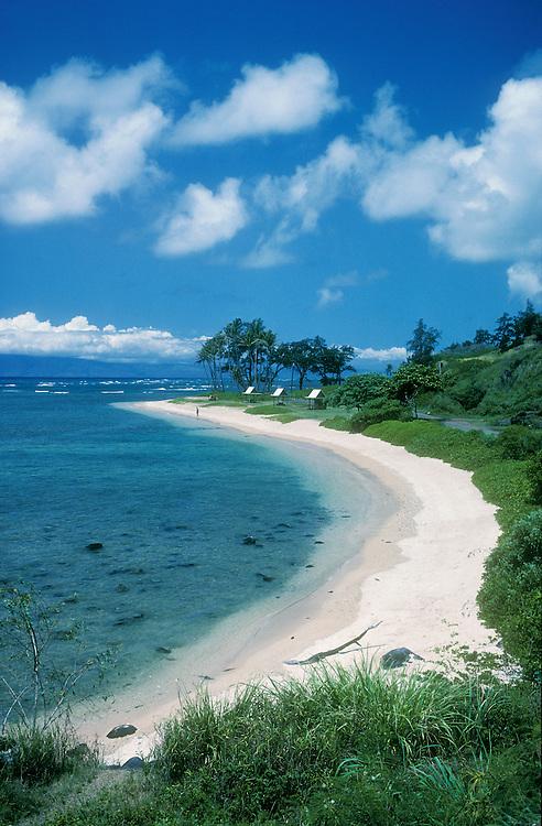 Beach park on southeast coast of Molokai, with Lanai island on the horizon.