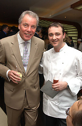 Left to right, CHRIS HUTCHESON Gordon Ramsay's father in law and chef JASON ATHERTON at a party to celebrate the opening of Maze - a new Gordon Ramsay restaurant at 10-13 Grosvenor Square, London W1 on 24th May 2005.<br />