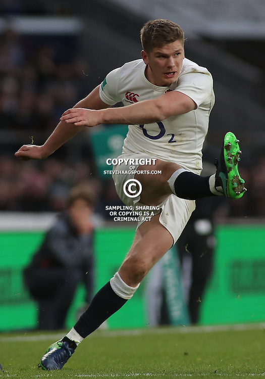 TWICKENHAM, ENGLAND - DECEMBER 03: Owen Farrell of England during the Old Mutual Wealth Series match between England and Australia at Twickenham Stadium on December 3, 2016 in London, England. (Photo by Mitchell Gunn/Getty Images) *** Local Caption ***Owen Farrell
