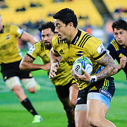 Ben Lam running with ball during the super rugby union  game between Hurricanes  and Highlanders, played at Westpac Stadium, Wellington, New Zealand on 24 March 2018.  Hurricanes won 29-12.