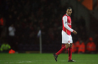Photo: Paul Thomas.<br /> Blackburn Rovers v Arsenal. The Barclays Premiership. 13/01/2007.<br /> <br /> Gilberto Silva of Arsenal looks back while walking off after being sent off by the referee Rob Styles.