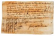 parchement type paper letter with signature