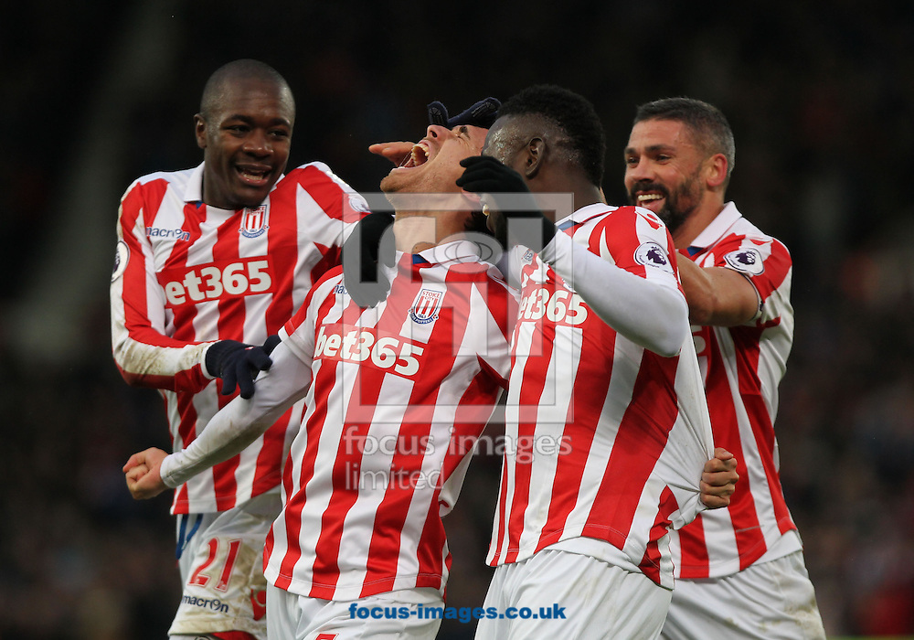 Marc Muniesa of Stoke City celebrates with his team mates after scoring the second goal against Burnley during the Premier League match at the Bet 365 Stadium, Stoke-on-Trent.<br /> Picture by Michael Sedgwick/Focus Images Ltd +44 7900 363072<br /> 03/12/2016