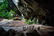 13 May 2017. Phraya Nakhon Cave, Thailand.<br /> Visitors take pictures of The Tetrahedron Pavilion deep inside Phraya Nakhon Cave, Thailand. The natural cave is an historic place in Thailand due to three great Thai King's visiting it in the past. <br /> Photographer: Rick Findler