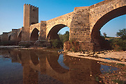 SPAIN, CASTILE and LEON medieval, fortified bridge across the Ebro River headwaters at Frias, northeast of Burgos