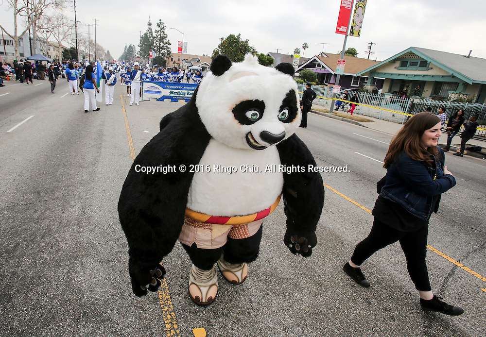 The movie character Kung Fu Panda makes it's way down Martin Luther King Blvd. during the Martin Luther King Jr. parade in Los Angeles on Monday Jan. 18, 2016. The 31st annual Kingdom Day Parade honoring Martin Luther King Jr. was themed &quot;Our Work Is Not Yet Done&quot;(Photo by Ringo Chiu/PHOTOFORMULA.com)<br /> <br /> Usage Notes: This content is intended for editorial use only. For other uses, additional clearances may be required.