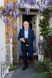 © Licensed to London News Pictures . 20/04/2017 . London , UK . JEREMY CORBYN leaves his home in Finsbury Park this morning (20th April 2017) . Jeremy Corbyn is due to set out Labour's election campaign manifesto at a speech today . Photo credit: Joel Goodman/LNP