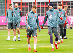 14.03.2019, Säbener Strasse, Muenchen, GER, 1. FBL, FC Bayern Muenchen vs 1. FSV Mainz 05, Training, im Bild v.l. Niklas Süle (FC Bayern), Manuel Neuer (FC Bayern), Joshua Kimmich (FC Bayern), Thomas Müller (FC Bayern), Leon Goretzka (FC Bayern) // during a trainings session before the German Bundesliga 26th round match between FC Bayern Muenchen and 1. FSV Mainz 05 at the Säbener Strasse in Muenchen, Germany on 2019/03/14. EXPA Pictures © 2019, PhotoCredit: EXPA/ Lukas Huter