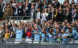 Vincent Kompany of Manchester City lifts the trophy - Mandatory by-line: Arron Gent/JMP - 18/05/2019 - FOOTBALL - Wembley Stadium - London, England - Manchester City v Watford - Emirates FA Cup Final