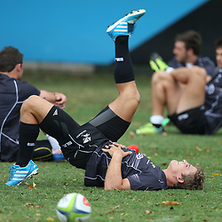 DURBAN, SOUTH AFRICA - MARCH 03: Patrick Lambie  during the Cell C Sharks training session at Growthpoint Kings Park on March 03, 2014 in Durban, South Africa. (Photo by Steve Haag/Gallo Images)