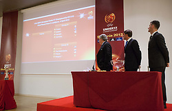 Jim Boyce, Saso Udovic and Marko Simeunovic at Final Round Draw of 11th UEFA European Under-17 Championship 2011/12, on April 4, 2012, in Ljubljana, Slovenia. (Photo by Vid Ponikvar / Sportida.com)