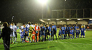 The traditional handshakes ahead of the FA Youth Cup match between U18 AFC Wimbledon and U18 Chelsea at the Cherry Red Records Stadium, Kingston, England on 9 February 2016. Photo by Michael Hulf.