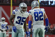 GLENDALE, AZ - SEPTEMBER 25:  Kavon Frazier #35 and Jason Witten #82 of the Dallas Cowboys of the Dallas Cowboys warm up for the NFL game against the Arizona Cardinals at University of Phoenix Stadium on September 25, 2017 in Glendale, Arizona.  (Photo by Jennifer Stewart/Getty Images)