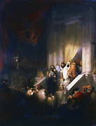 Reading from the Torah in the Synagogue. Oil on canvas. Private Collection