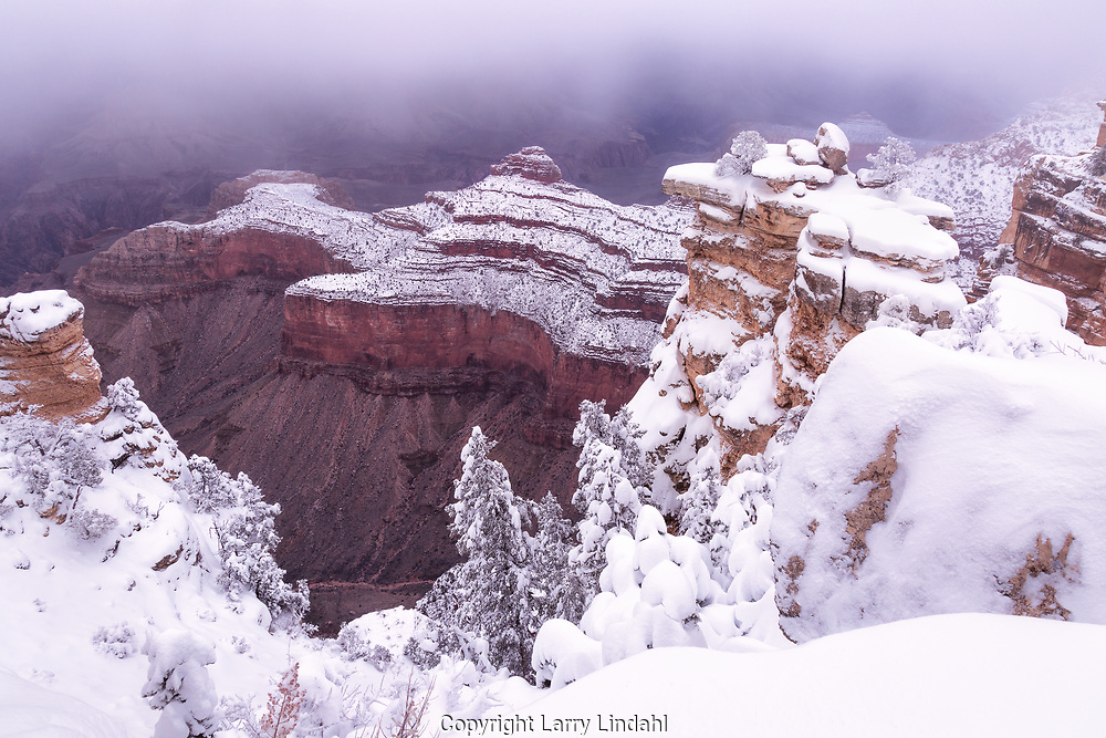 Grand Canyon, Mather Point, winter, snow, Arizona