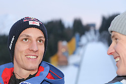 08.01.2015, Kulm, Bad Mitterndorf, AUT, FIS Ski Flug Weltcup, Einfliegen der Schanze, im Bild Gregor Schlierenzauer (AUT) und Andreas Goldberger (AUT) // Gregor Schlierenzauer (AUT) and Andreas Goldberger (AUT) during the FIS Ski Flying World Cup at the Kulm, Bad Mitterndorf, Austria on on 2015/01/08. EXPA Pictures © 2015, EXPA/ Martin Huber