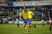Goal!…Birmingham City defender Michael Morrison (28) scores a goal and celebrates during the EFL Sky Bet Championship match between Millwall and Birmingham City at The Den, London, England on 28 November 2018.
