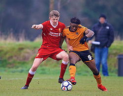WOLVERHAMPTON, ENGLAND - Tuesday, December 19, 2017: Liverpool's Tom Clayton and Wolverhampton Wanderer's Austin Samuels during an Under-18 FA Premier League match between Wolverhampton Wanderers and Liverpool FC at the Sir Jack Hayward Training Ground. (Pic by David Rawcliffe/Propaganda)