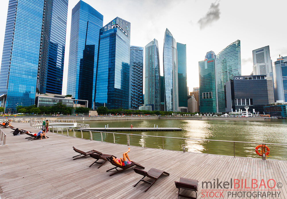 Skyscrapers and promenade. Singapore, Asia.