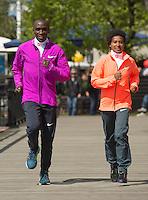 Virgin Money London Marathon 2015<br /> <br /> Winners Photocall<br /> <br /> Left to Right<br />  Tigist Tufa Ethiopia Women Winner<br /> Eliud Kipchoge Kenya Mens winner<br /> <br /> Photo: Bob Martin for Virgin Money London Marathon<br /> <br /> This photograph is supplied free to use by London Marathon/Virgin Money.