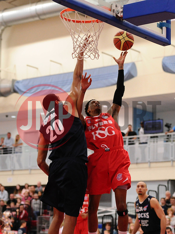 Bristol Flyers' Bree Perine scores a basket  - Photo mandatory by-line: Joe Meredith/JMP - Mobile: 07966 386802 - 11/04/2015 - SPORT - Basketball - Bristol - SGS Wise Campus - Bristol Flyers v Glasgow Rocks - British Basketball League
