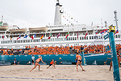 20-07-2018 NED: CEV DELA Beach Volleyball European Championship day 6<br /> Mini of the day with the first serve of the match. Sanne Keizer NED #1, Madelein Meppelink NED #2