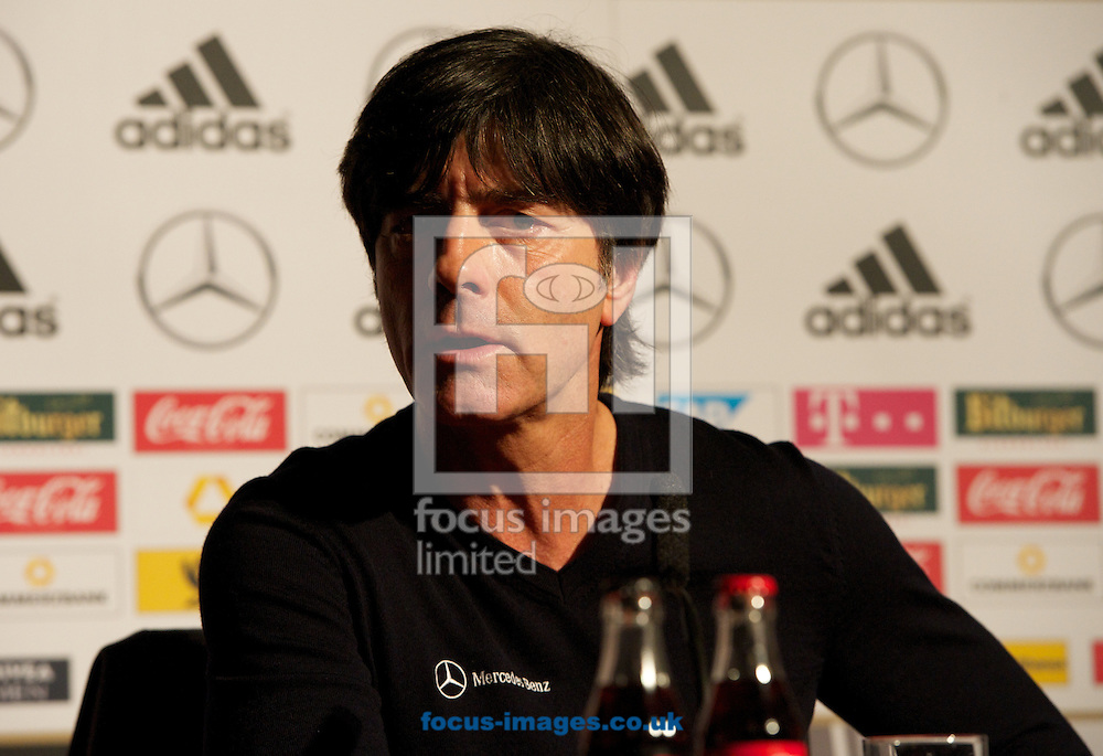 Picture by Alan Stanford/Focus Images Ltd +44 7915 056117<br /> 18/11/2013<br />  Manager Joachim Low pictured during the Germany press conference at The Royal Horseguards Hotel, London.