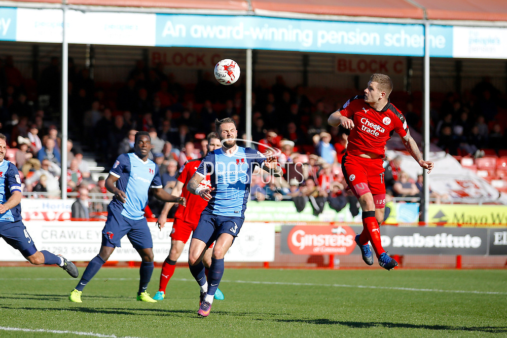 Crawley Town forward James Collins (19) scores a header  (score 1-0) during the EFL Sky Bet League 2 match between Crawley Town and Leyton Orient at the Checkatrade.com Stadium, Crawley, England on 25 March 2017. Photo by Andy Walter.