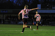 Niall Rowe celebrates his goal during the FA Trophy match between Oxford City and Cheltenham Town at Court Place Farm, Oxford, United Kingdom on 16 January 2016. Photo by Antony Thompson.