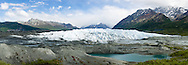 Composite panorama of terminus of Matanuska Glacier in Southcentral Alaska. Spring. Afternoon.