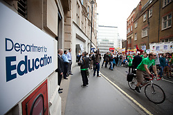 © Licensed to London News Pictures. 25/06/2013. London, UK. Hundreds of members of the national union of teachers (NUT) are seen marching past the ministry of education in Westminster, London, today (25/06/2013). The march, against potential pay cuts to teachers salaries, took in a route which included the ministry of education. Photo credit: Matt Cetti-Roberts/LNP