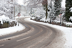 The A629 Cowley Hill  Chapeltown Sheffield what would normally be a busy route to Junction 35 of the M1 Motorway  is left deserted due to the most widespread Snows to hit Britain for 20 years.1st December 2010.Images © Paul David Drabble