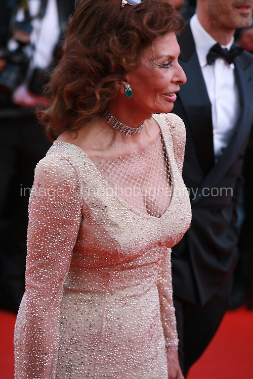 Actress Sofia Loren at the Two Days, One Night (Deux Jours, Une Nuit) gala screening red carpet at the 67th Cannes Film Festival France. Tuesday 20th May 2014 in Cannes Film Festival, France.