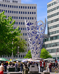 Oct 30, 2008 - Christchurch, South Island, New Zealand - Chalice, a permanent sculpture located in Christchurch's Cathedral Square, the city's centre, celebrates the new millennium and the 150th Anniversary of the founding of Christchurch and Canterbury. The 18 m (59 ft) high sculpture's forty-two leaf patterns feature different native plants and was designed by prominent New Zealand artist Neil Dawson. (Credit Image: © Arnold Drapkin/ZUMA Press)