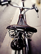 Leather bicycle saddle, Paris, France