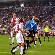 NLD/Amsterdam/20060823 - Ajax - FC Kopenhagen, kopduel voor het doel van Ajax, Jaap Stam, John Heitinga, Brede Hangeland en Michael Gravgaard