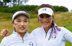 Auchterarder, Scotland, UK. 10 September 2019. Day one of the Junior Solheim Cup 2019 at the Centenary Course at Gleneagles. Tuesday Morning Foursomes. Pictured Lucy Li (l) and Sadie Englemann of USA after losing to Europe 4&3. Iain Masterton/Alamy Live News