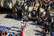 Women's podium during the Red Bull Cliff Diving World Series 2018 on September 23, 2018 in Polignano a Mare, Italy - Photo Marco Verri / ProSportsImages / DPPI
