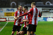 Lloyd James (4) of Exeter City celebrates scoring a goal to give a 4-0 lead to the home team during the EFL Sky Bet League 2 match between Exeter City and Crewe Alexandra at St James' Park, Exeter, England on 4 February 2017. Photo by Graham Hunt.