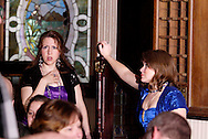 "Jene Rebbin Shaw (left) and Heather Gorby during Mayhem & Mystery's production of ""Tragedy in the Theater"" at the Spaghetti Warehouse in downtown Dayton, Monday, February 28, 2011."