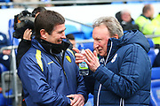 Burton Albion's manager Nigel Clough and Cardiff City manager Neil Warnock during the EFL Sky Bet Championship match between Cardiff City and Burton Albion at the Cardiff City Stadium, Cardiff, Wales on 30 March 2018. Picture by John Potts.