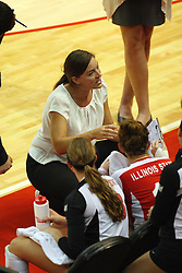 01 September 2012:  Melissa Myers during a time out in front of Kaitlyn Early and Jenny Menendez during an NCAA womens volleyball match between the Oregon State Beavers and the Illinois State Redbirds at Redbird Arena in Normal IL