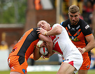 James Roby  (C) of St Helens  tackled a strong Castleford Tigers defence during the Ladbrokes Challenge Cup match at the Mend-A-Hose Jungle, Castleford<br /> Picture by Stephen Gaunt/Focus Images Ltd +447904 833202<br /> 12/05/2018