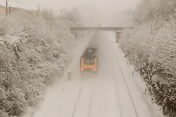 Trains are still running on the First Great Western Bristol to London line despite, heavy overnight snow causing disruption in rural Wiltshire, Corsham, UK, January 18 2013. Photo by Mark Chappell / i-Images.