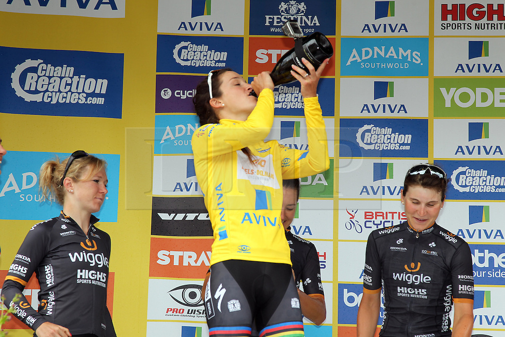 © Licenced to London 19/06/2016<br /> Kettering, Northamptonshire.UK. The winners podium with Lizzy Armitstead drinking Champagne in the winners Yellow Jersey of final stage of the Aviva Women's Tour. Photo credit Steven Prouse/LNP