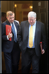 Transport secretary Patrick McLoughlin (right) and David Jones Secretary of State for Wales leaves No10 Downing Street after Cabinet Meeting in the Syria Crisis, London, United Kingdom. Thursday, 29th August 2013. Picture by Andrew Parsons / i-Images