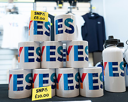 Edinburgh, Scotland, UK. 28 April, 2019. Day 2 of thee SNP ( Scottish National Party) Spring Conference takes place at the EICC ( Edinburgh International Conference Centre) in Edinburgh. Pictured; YES mugs for sale in SNP gift shop