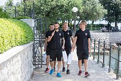 OPATIJA, June 5, 2018  Players of Croatian national football team Mateo Kovacic (L1), Marcelo Brozovic (L2), Domagoj Vida (L3) and Tin Jedvaj (R) walk on the street of Opatija, Croatia, on June 4, 2018. The team is preparing for 2018 FIFA World Cup as head coach Zlatko Dalic announced on Monday his final list of 23 players who will represent Croatia in Russia. (Credit Image: © Nel Pavletic/Xinhua/Xinhua via ZUMA Wire)