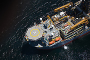 Aerial view of the helipad on the ultra-deepwater drilling ship Pacific Khamsin